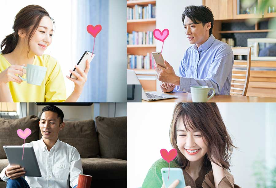 オンライン婚活パーティー_お見合いする男女
